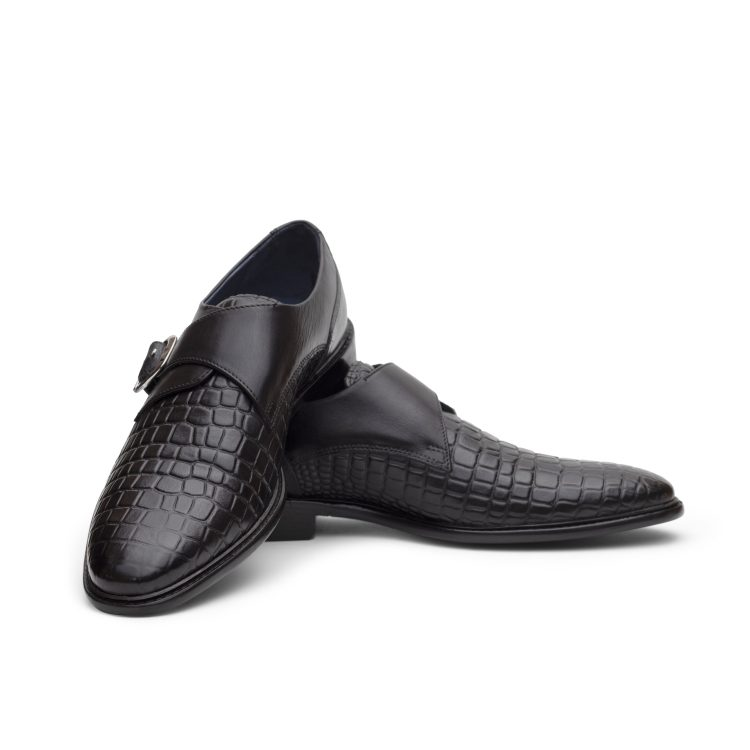 MNJ RIC08-Blk Derby Monk Casual Shoes