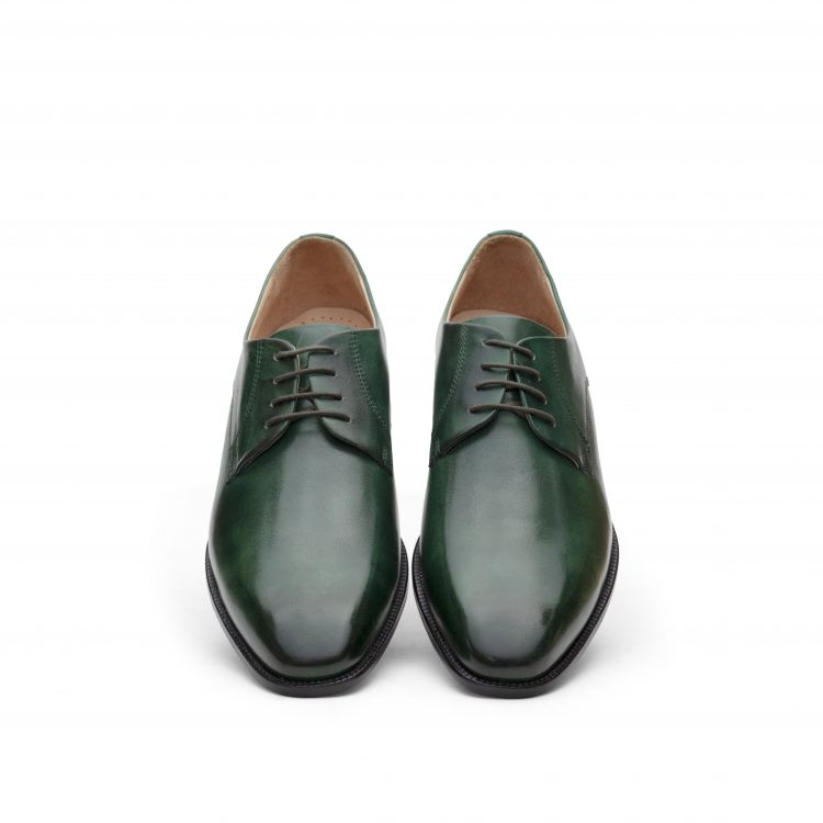 SAM12-Bottle Green Leather Shoes