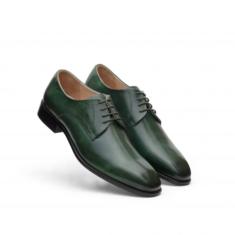 SAM12-Bottle Green Leather Shoes (5)