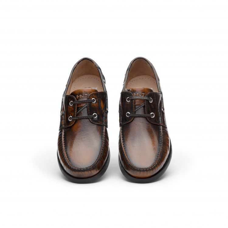 TRU01-TAN_ Boat Leather Casual Shoes
