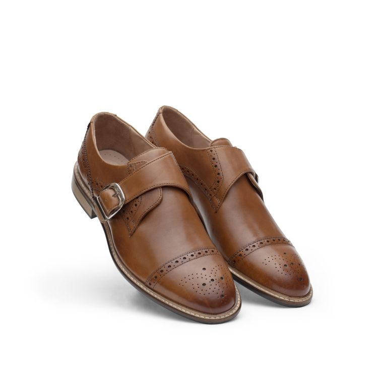 VIC04-TAN01 Derby Monk Formal Shoes (5)